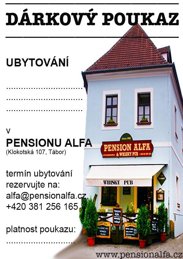 Dárkový poukaz -Pension ALFA & Whisky Pub